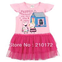 Peppa pig 2014 summer new girls dress wholesale foreign trade cotton flare sleeve pink dress