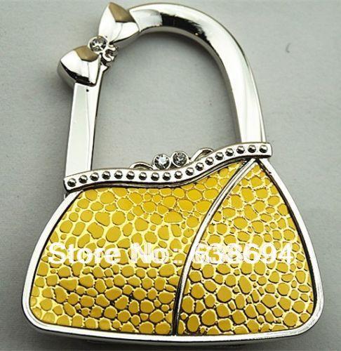 Free Shipping New Yellow Patterns Hot Women Folding Handbag Hanger Hook Bag Purse Holder Gift(China (Mainland))