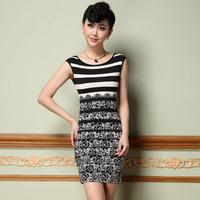 2014 Plus Size Fashion Famous Europe Elastic Women's Dresses Clothing S-3XL