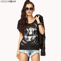 2014 new fashion women t-shirt cat print back cutout o-neck short-sleeve T-shirt femal top tees free shipping