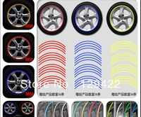 "free shipping 16 Strips  17"" Wheel Reflective Car Rim Sticker, Big motorcycle,Wheel Decal Tape Stickers,8 Colors available"
