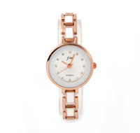JW Crystal Hours Ceramic Watch Analog Rose Gold Women Dress Watches Hot Sale 2014