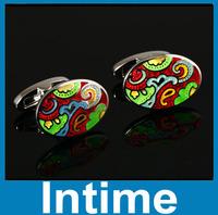 2014  High Quality  Cufflinks Round Men Cufflinks Wedding Business Enamel Cufflinks And With The Best Cufflink Box Free shipping