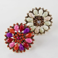 Free shipping 2014 hot-selling attractive fashion accessories female fashion vintage beautiful flower elastic ring high quantify