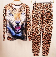 2014 clothing Set Animal Leopard Tiger 3D Print Sport Hoodie Suit Sportswear Sweater Sweatshirt  Freeshipping