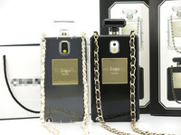 Highest Quality Perfume Bottle Case Gold Logo Soft TPU Case For Samsung Note2 or Note3 N9006 free shipping
