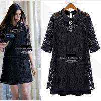 Fashion plus size mm half sleeve spaghetti strap 2 piece ultralarge set chiffon cutout 5xl chiffon one-piece dress female
