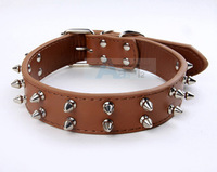 10PCS/LOT HOT Brown-color Cowhide Genuine Leather Pet Dog Ring Double Metal Nail Dog Collars  D17_Z_10
