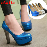 VINLLE 2014 New fashion sexy high-heel women's pumps platform lady party women's Pumps Wedding Party Shoes size 34-39