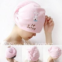 No Min Order,High Quality Wholesale Magic Super Absorbent Dry Cartoon Rabbit Towel Dry Hair Hat Cap 4Pcs
