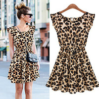 2014 new summer women leopard dresses chiffon casual  Ladies one-piece Sleeveless Pleated dress O-neck Plus size above knee 1016