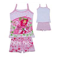 Wholesale  kids Pajamas set  strawberry girl 2-pcs Top and pant sun top girls Sleeveless shirt summer sleep set(3-10t)12sets/lot