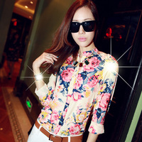 Hot hot !Spring 2014 girl long-sleeve chiffon floral print fashion stand collar shirt basic slim shown shirt ,blouse women .