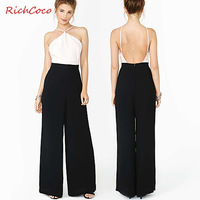 free shipping Fashion sexy strapless richcoco racerback colorant match d267 chiffon jumpsuit