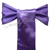 """Free Shipping 50 pieces Brand New Purple / Violet 6""""x108"""" Satin Chair Cover Sash Wedding Party Supply Decoration"""