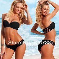 2 Pcs Sexy Women Padded Push Up Swimwear Swimsuit Bra Bandeau Bikini set Strap Bathing suits Top Beachwear Black White S M L