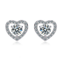 Rhodium Plated heart zircon earrings fashion Jewelry earrings for women hot sale