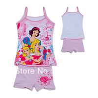 Wholesale  kids Pajamas set pink  2-pcs Top and pant sun top girls princess sleeveless shirt summer sleep set(3-10t)12sets/lot
