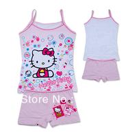 Wholesale  kids Pajamas set 2-pcs Top and pant kitty sun top girls sleeveless shirt summer bubbles sleep set(3-10t)12sets/lot