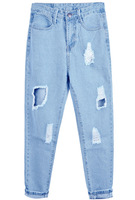 Free Shipping 2013 Lady's Hot Nice Fashion Pant Women Casual Blue Ripped Pockets Denim Pant