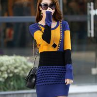 Free shipping 2014 women's spring medium-long basic sweater dress long-sleeve sweater female