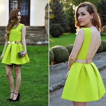 2014 Fashion topshop neon green one-piece racerback dress one-piece dress(China (Mainland))