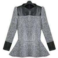 Free shipping 2014 women's spring sweater fashion women's elegant female patchwork ruffle hem sweater