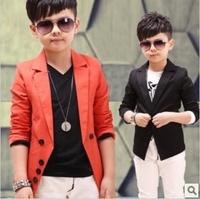 2014 New fashion male child blazer jacket Spring Autumn Korean design kids boy formal suit coat children outerwear Orange/Black