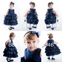 Free shipping 6pcs/lot  baby clothing baby girls summer dress baby girls party dress girls cake dress+headband
