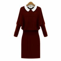 fashion batwing sleeve design basic long sweater long-sleeve slim one-piece dress sweater female