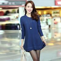 Free shipping 2014 spring sweater women's loose low collar ruffle sweep medium-long sweater