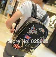 Rivet medal skull design fashion backpack Preppy style student school bag high quality PU leather Korean trend