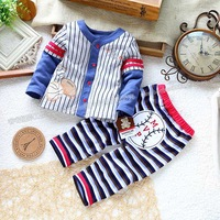 Retail spring and autumn Child set baby boy clothes stripe top trousers male baby set  clothes