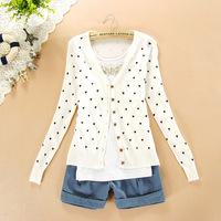 HOT SALE 2014 new fashion women coat love heart sweater plus size cardigan knitted outerwear Women Print Tops Tee blouse shirt