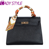 BUENO 2014 ot new fashion silk scarf women handbag box commuter messenger bags work shoulder bag candy color belt HL1604