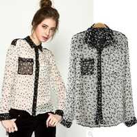 2014 Fashion sexy bird print chiffon casual long sleeve shirt women pockets front plus size popular pattern