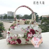 2014 new casual canvas bag handbag pleated edge printing female small cloth