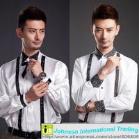 2014 Specials new Korean men's shirts long-sleeve show Dot Strap white shirt size: S-XXXL
