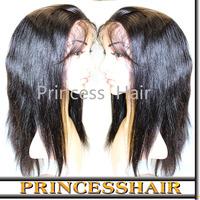 DHL Free Shipping Natural Color 1B Straight Brazilian Virgin Hair 5A Grade Half Lace Human Hair Wigs