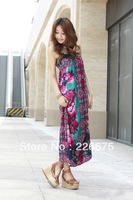 Holiday Beach Dress Bohemian Peony Flowers Print Floor-length One-piece Beading Halter-Neck Tube Top Plus Size Skirt
