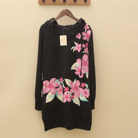 Small flower fleece thickening long design slim hip sweatshirt