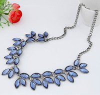 2014 New Designer Chunky Resin Leaf Statement Necklaces & Pendants Silver Chain Bib Bubble Choker Necklace Women Bridal Jewelry