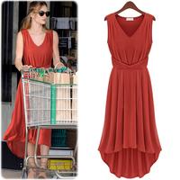 High Quality Summer Women Solid Maxi Dress Sleeveless V-Neck Collar Casual Mermaid Cotton Dress fashion Orange Black Blue S M L
