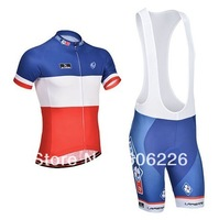 Free Shipping!!CYCLING SHORTS JERSEY+BIB SHORTS 2014 FDJ OOK Cycling Kit /Jersey/Pants Bike Clothes SETS BLUE&WHITE&RED  XS-4XL