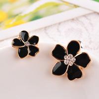 New 2014 Asymmetric drip five flower earrings ear clip/Stud earrings wholesale No Allergy 0