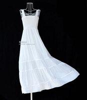 Free shipping Lace spaghetti strap white expansion bottom dress beach skirt bohemia one-piece dress full dress