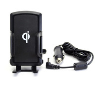 New Smart Phone Qi Wireless phone charger with car mount cradle holder black