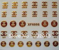 Fashion DIY 3D Gold Nail Art Stickers Water Transfer Sticker Beauty Decoration A-XF6006 Cheap Free Shipping