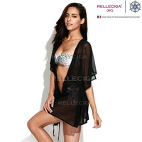 2014 Sexy Beachwear -Solid Black Sheer  Caftan with Drawstring at Waistline victoia secret swimsuit Bandage Monokini