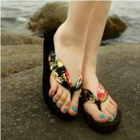 free shipping 2014 women's bohemia fashion flip flops summer clamping jaw wedges platform flip sandals slippers